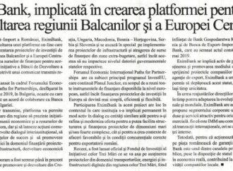 EximBank, implicata in crearea platformei pentru dezvoltarea regiunii Balcanilor si a Europei Centrale