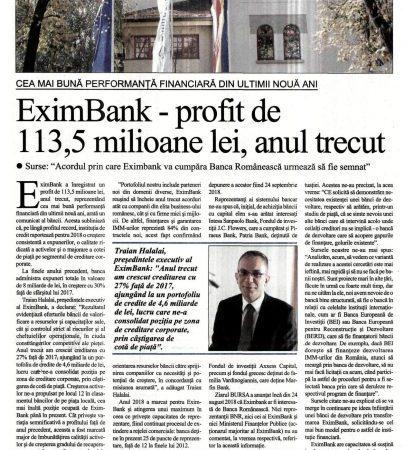 EximBank – profit de 113,5 milioane de lei, anul trecut