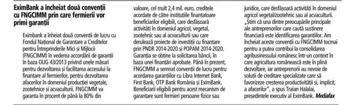 EximBank a incheiat doua conventii cu FNGCIMM prin care fermierii vor primi garantii