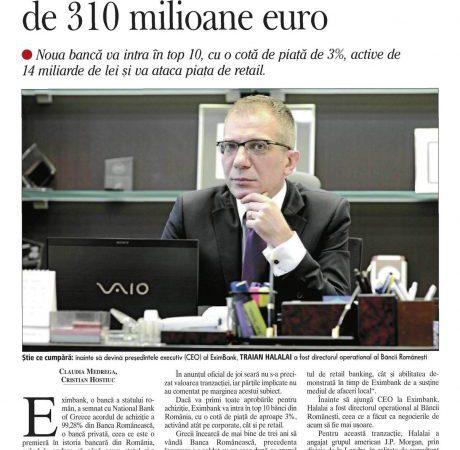 EximBank cumpara Banca Romaneasca intr-o tranzactie de 310 milioane euro