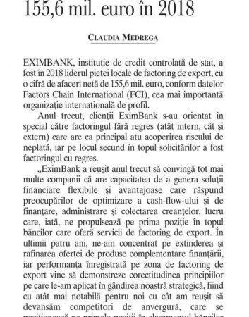 EximBank devine lider in factoring de export cu o cifra de afaceri de 155,6 mil. euro in 2018