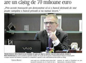 EximBank: Pentru Banca Romaneasca am platit 61 milioane euro, iar statul are un castig de 70 milioane de euro