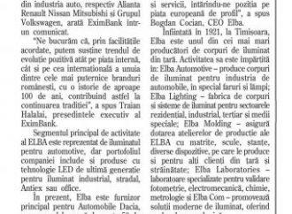 Elba Timisoara, finantata de EximBank cu aproape 6 milioane de euro pentru dezvoltarea activitatii companiei
